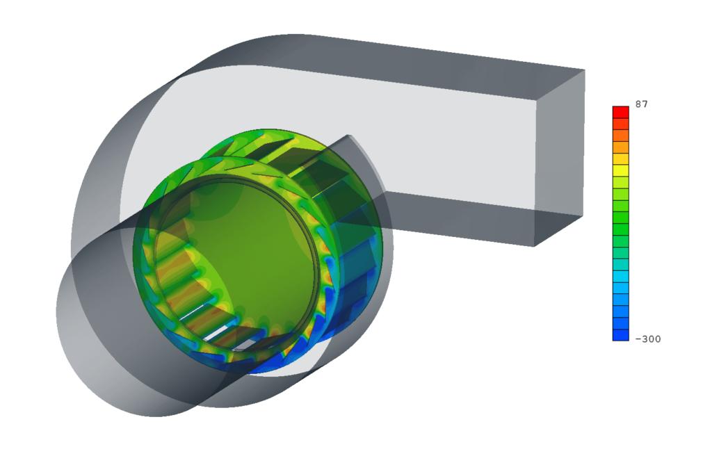 Pression statique sur le rotor du ventilateur [Pa]