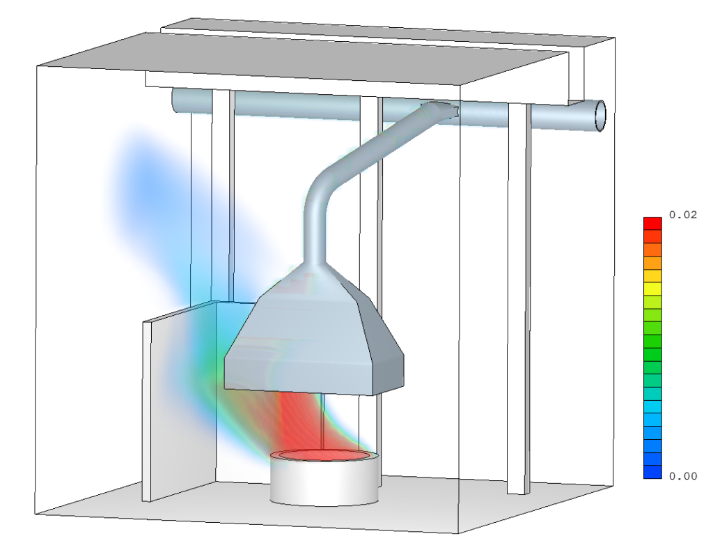 3D rendering - Mass fraction of the smoke - High suction flow