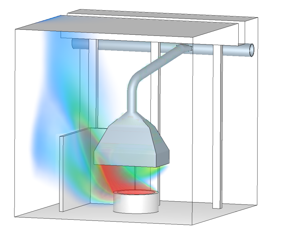 3D rendering - Mass fraction of the smoke - Low suction flow