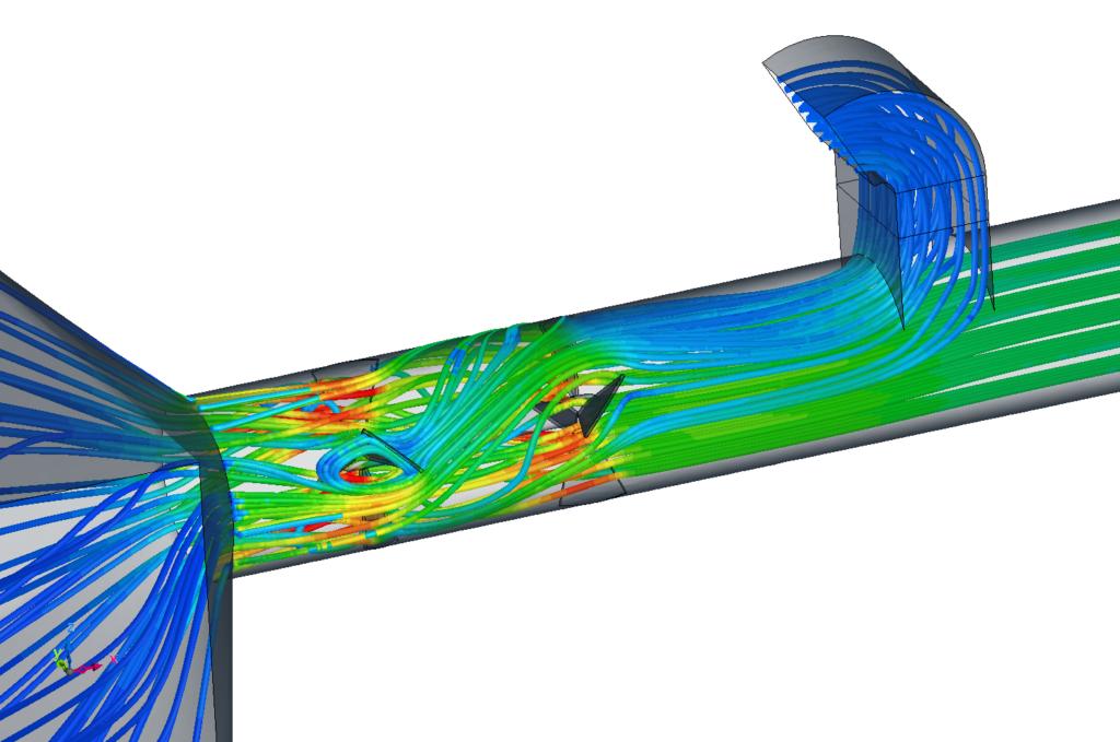 lignes de courant colorée par la vitesse [m/s] - zoom sur le mélangeur statique